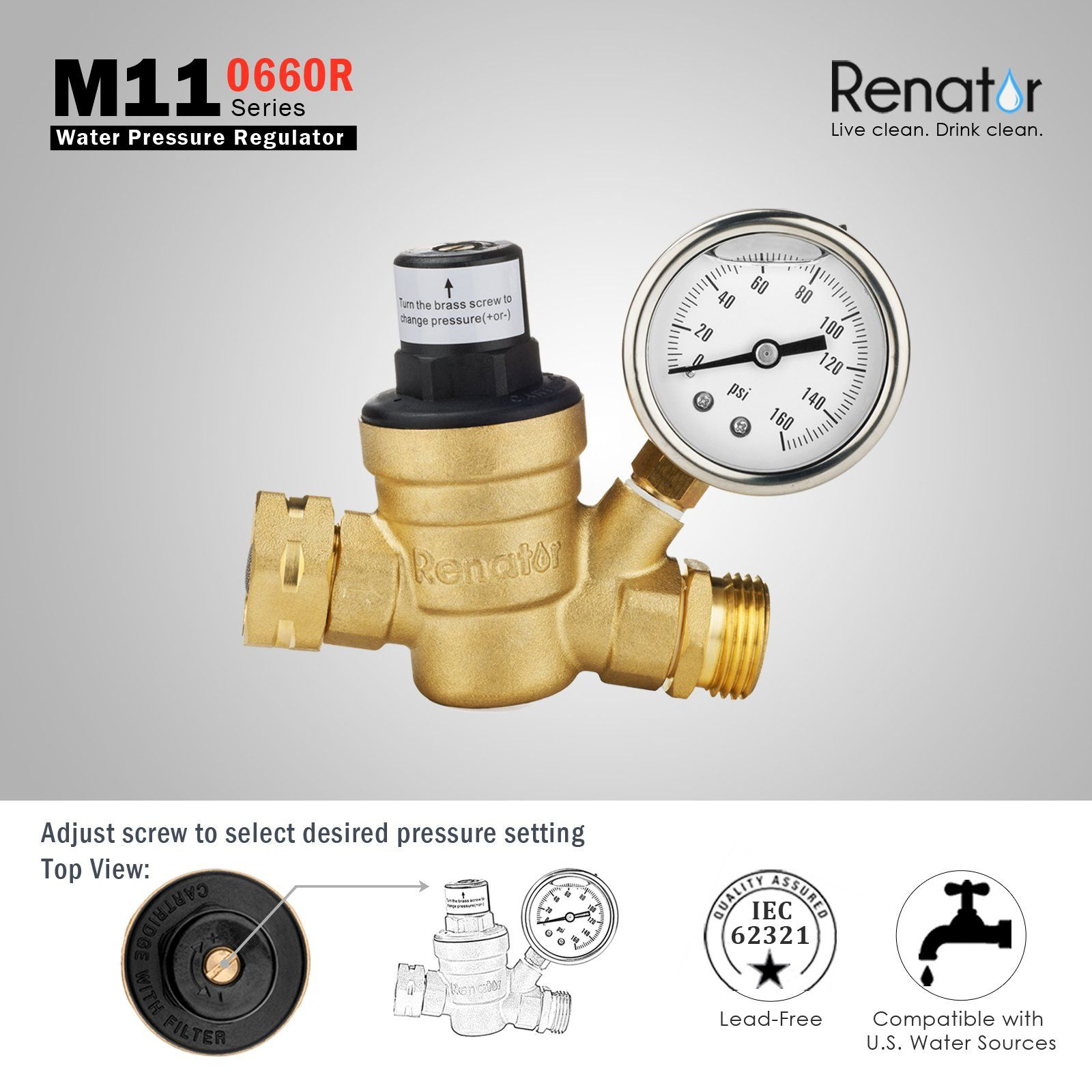 Renator M110660r Water Pressure Regulator Valve Brass Leadfree Adjustable Water Pressure Reducer With Gauge For Rv Camper And Rv Campers Lead Free Regulators