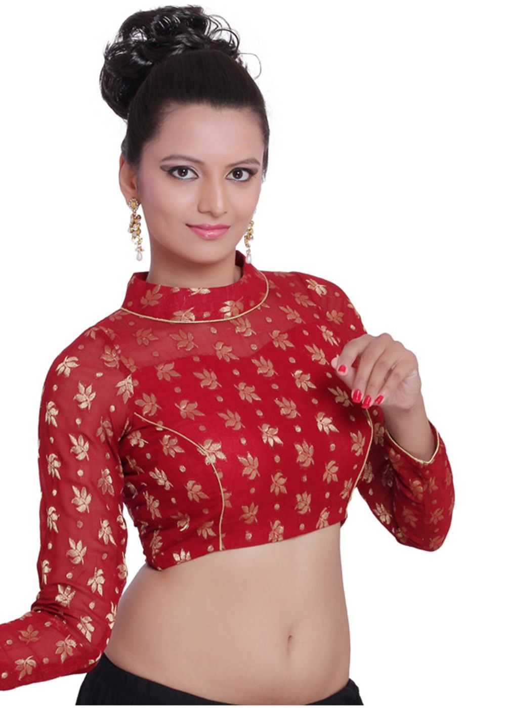 5086310236cf1  Red viscose readymade high neck  blouse enhanced with  zari woven  floral  pattern and full sleeves.