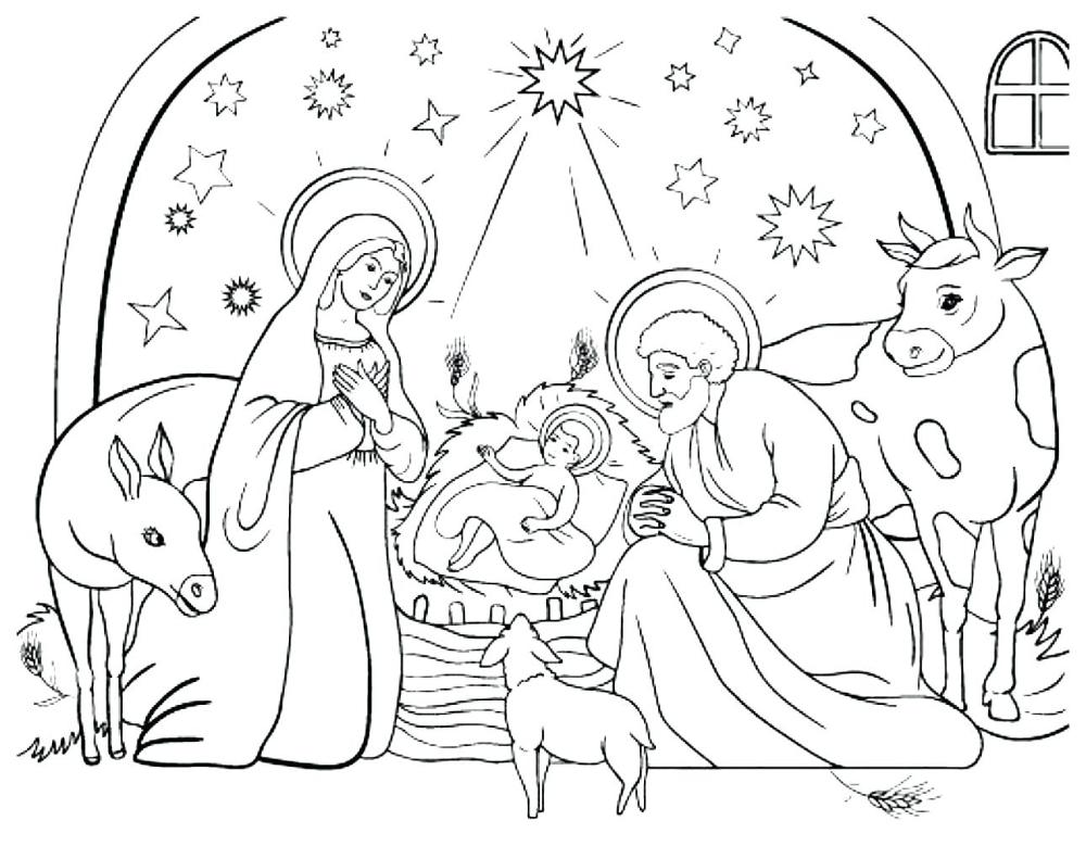 Coloring Pages Christmas Light Bulb Nativity