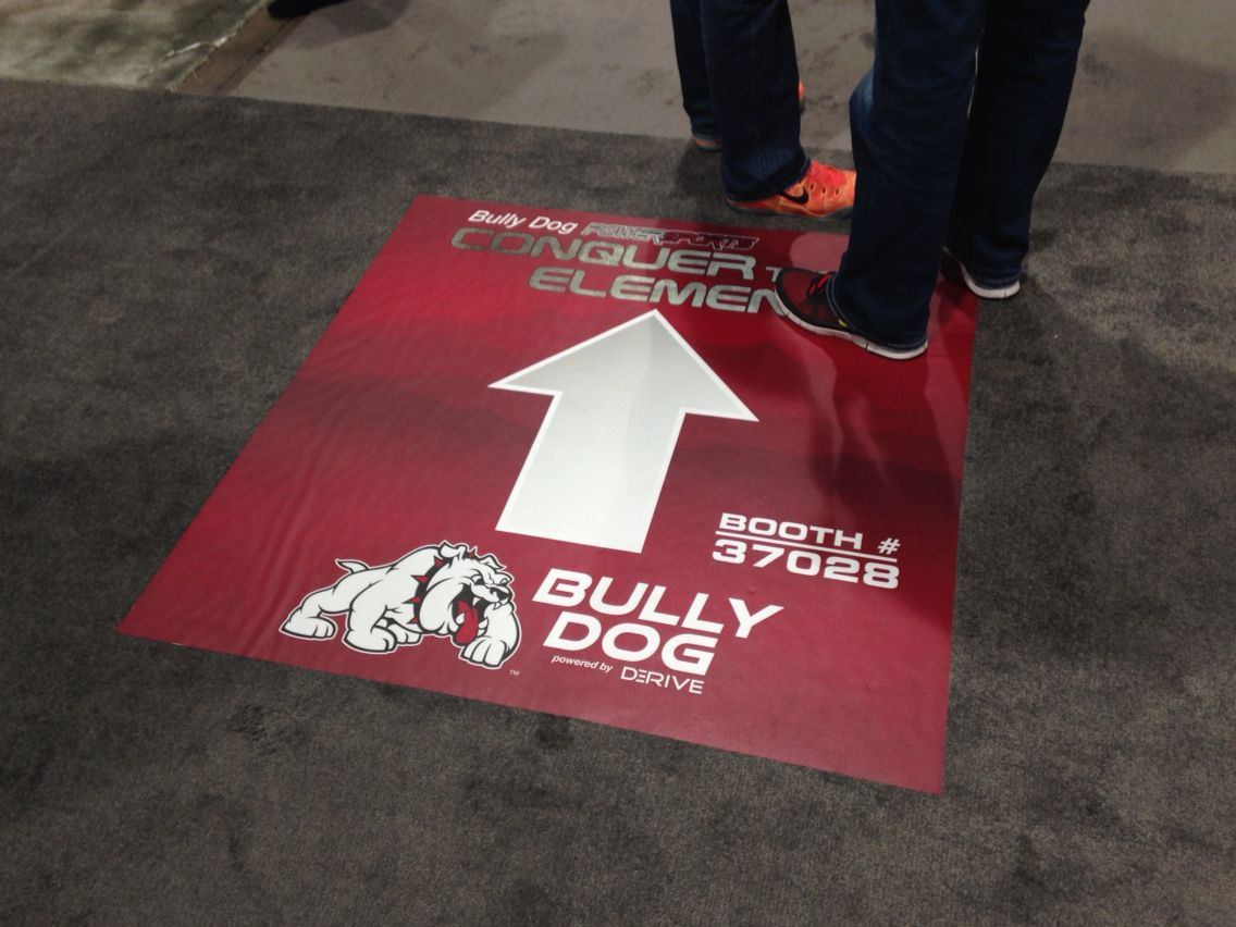 Floor Decal Applied To Carpet At The Sema Trade Show In Las Vegas Floor Decal Las Vegas Shows Signage