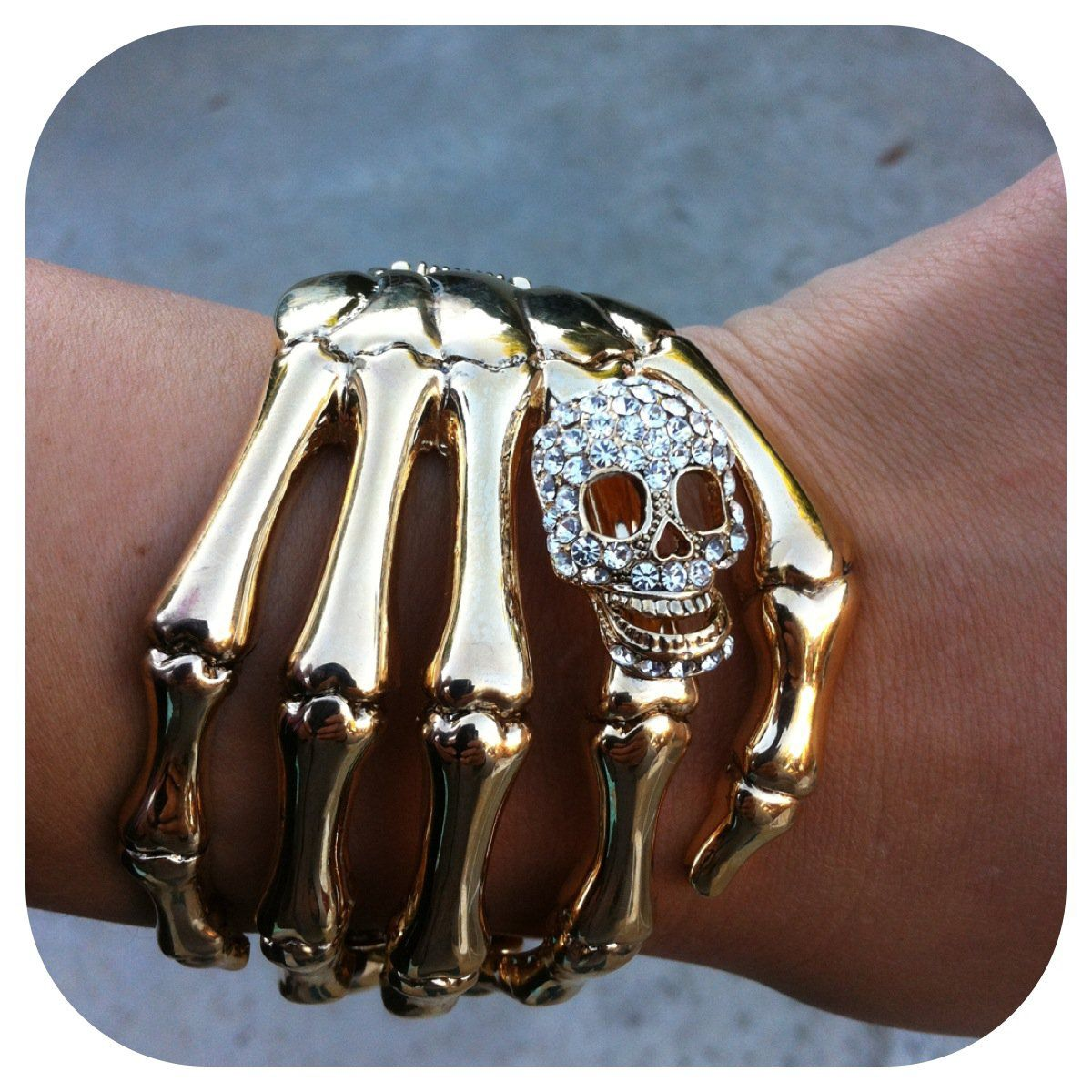 Skull Hand Cuff Gold Joyería de calavera, Accesorios de
