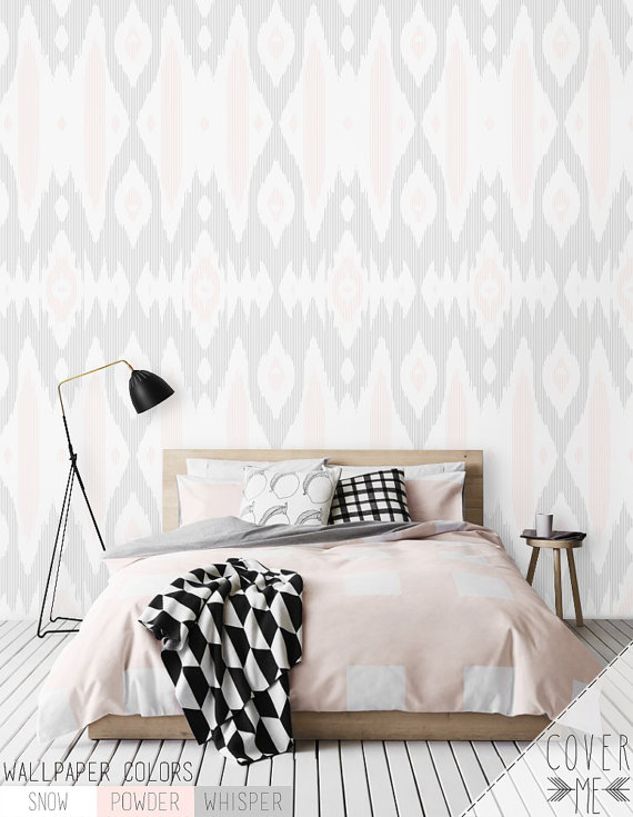 Abstract Removable Self Adhesive Wallpaper Gray And White Mandala