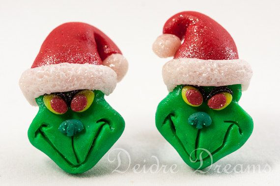 The Grinch Earrings  Polymer Clay Sud Post Back by DeidreDreams, $22.00