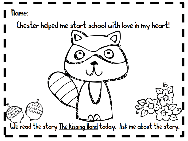 fresh kissing hand freebies and teaching resources chester raccoon coloring - Chester Raccoon Coloring Page