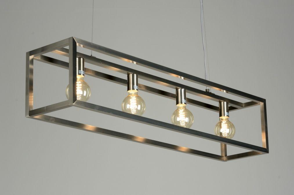 Eettafel lamp hang stalen frame hanglamp 87313 modern for Lampen 4room