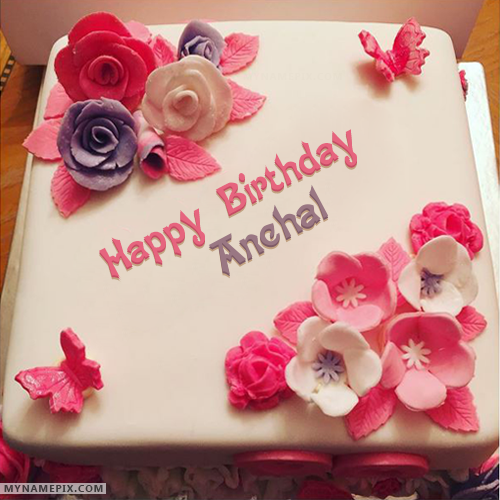 The Name Anchal Is Generated On Beautiful Birthday Cake For Girls