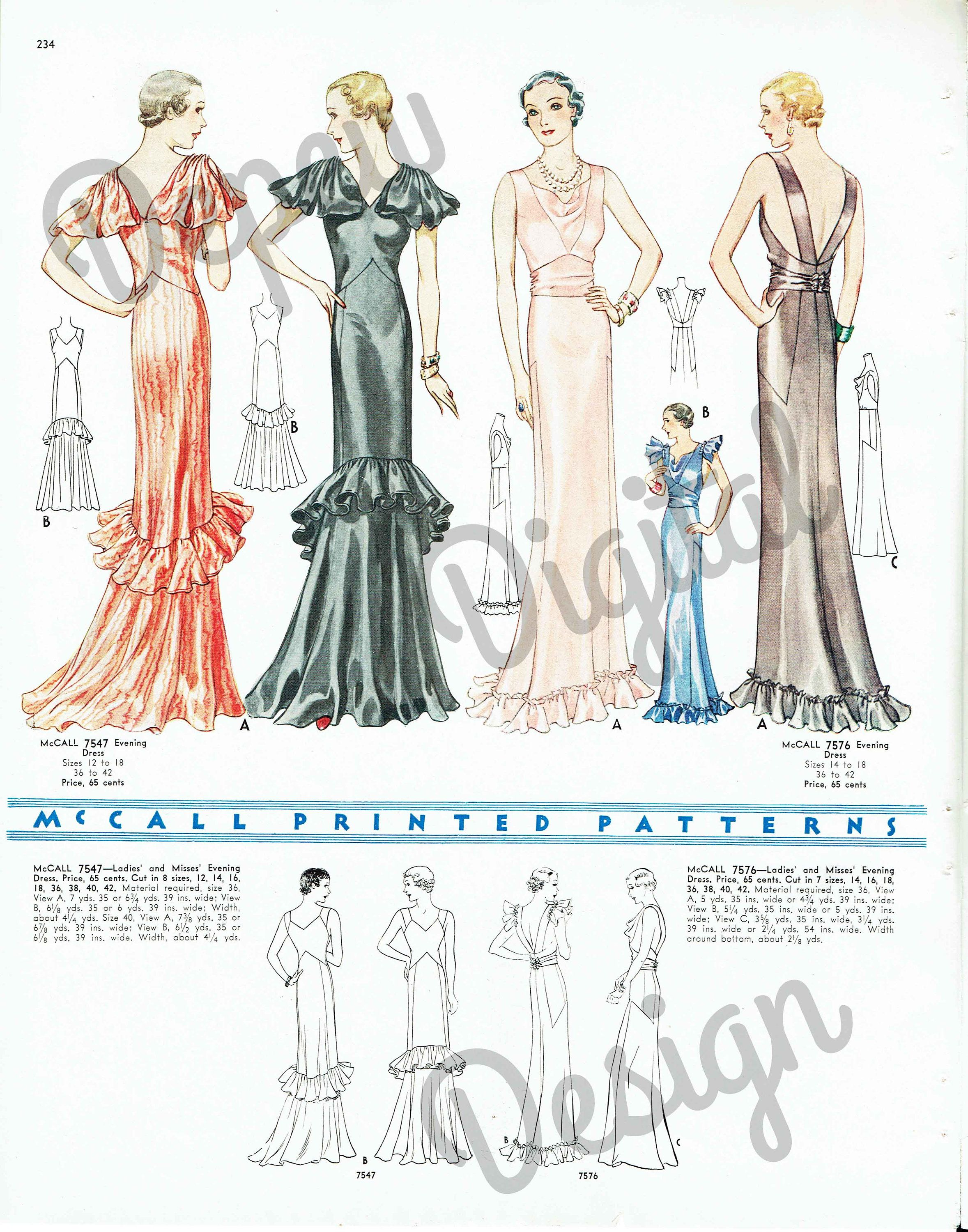 McCall 7547 (after Lanvin) and 7576 in 1933 | Evening Dresses
