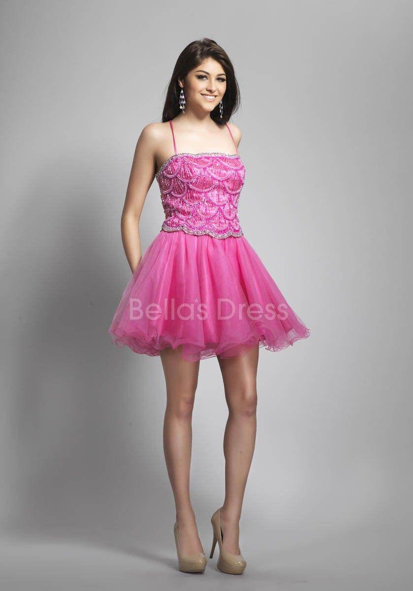 A line Spaghetti Straps Short Length Natural Waist Tulle Prom ...