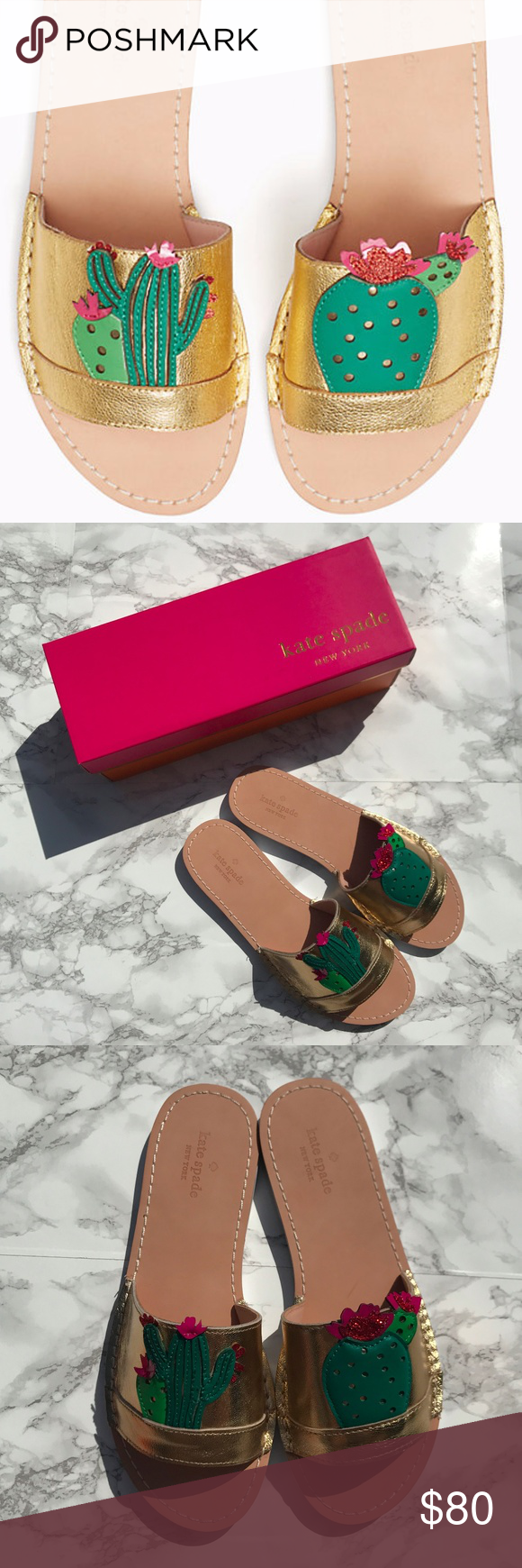 9c5a201bf1a8 NEW Kate Spade Iguana Cactus Slide Sandals New in box Kate Spade  Iguana   sandals