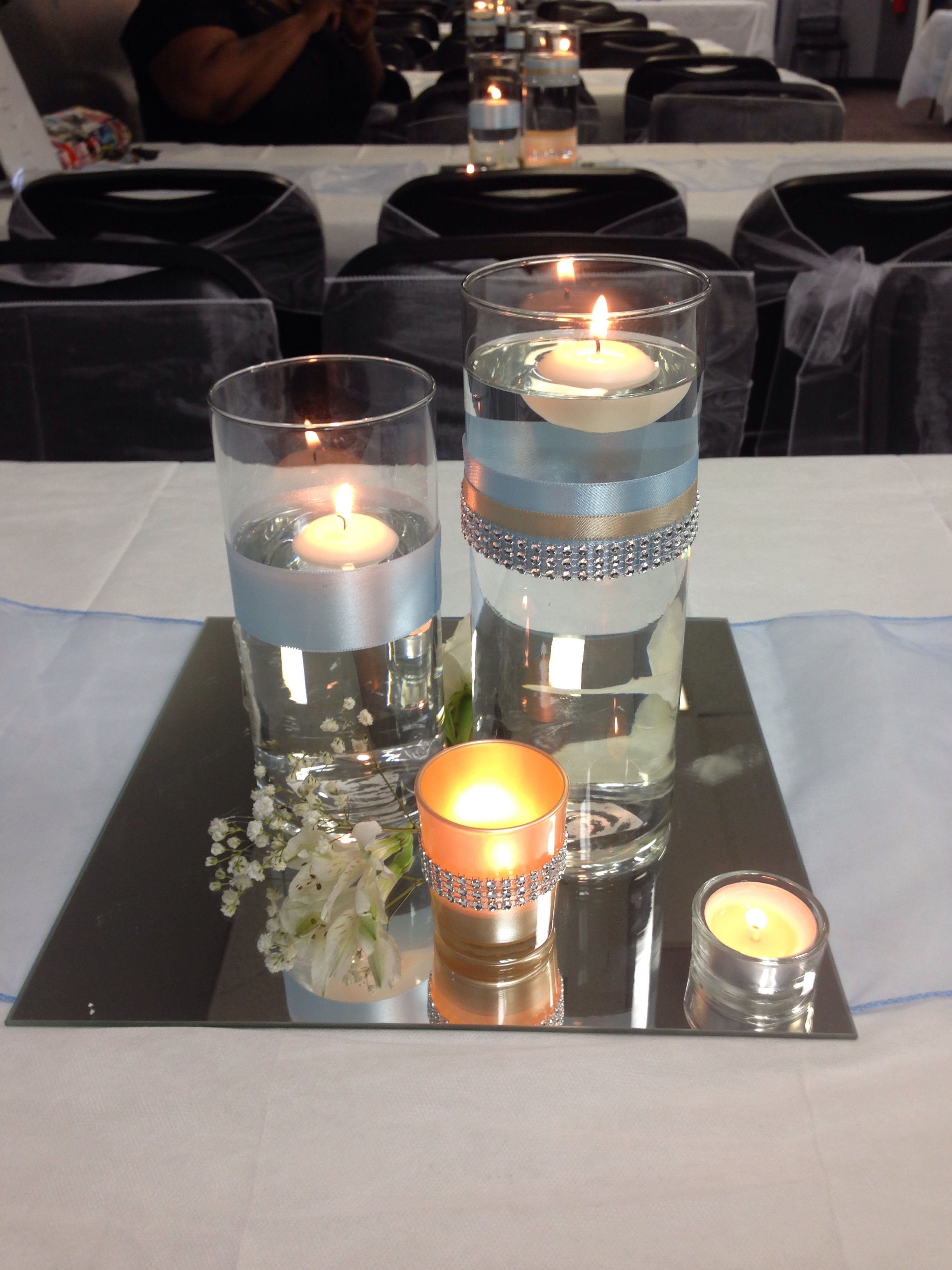 Baby Blue And Champagne Floating Candle And Mirrored Centerpiece For Wedding By Me Melscu Mirror Wedding Centerpieces Mirror Centerpiece Wedding Centerpieces