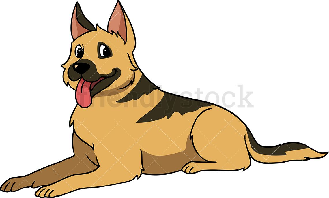 German Shepherd Dog Lying Down German Shepherd Dogs Cartoon Dog