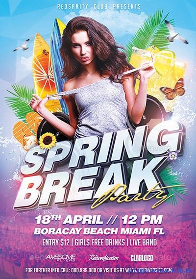 50 Best #Spring Break Party #Flyer Print Templates 2016 Http://Www