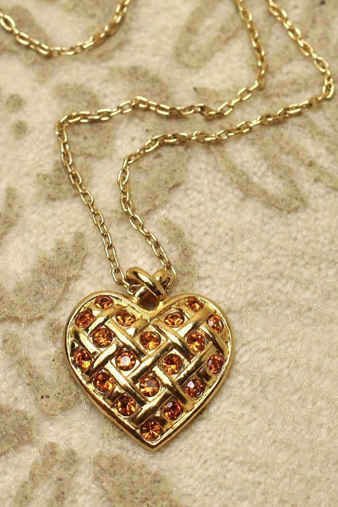 Vintage avon gold tone citrine yellow rhinestone heart pendant vintage avon gold tone citrine yellow rhinestone heart pendant necklace avon mozeypictures Image collections