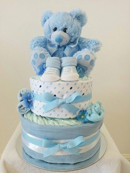 Nappy Cakes By Emma Two Tier Baby Boy Cake Blue White Booties Brisbane Sydney Melbourne Gifts