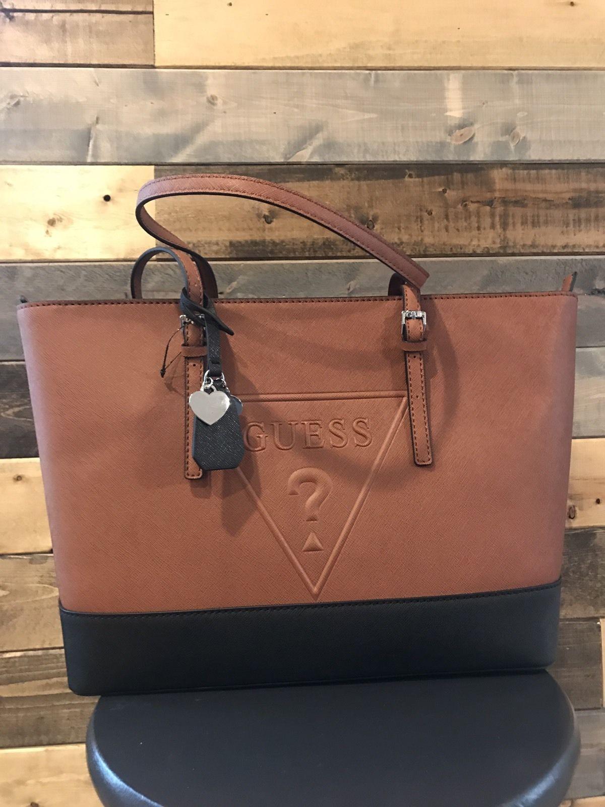 e4dda0181a16 GUESS Triangle Logo Brown Black Large Tote Delaney Bag