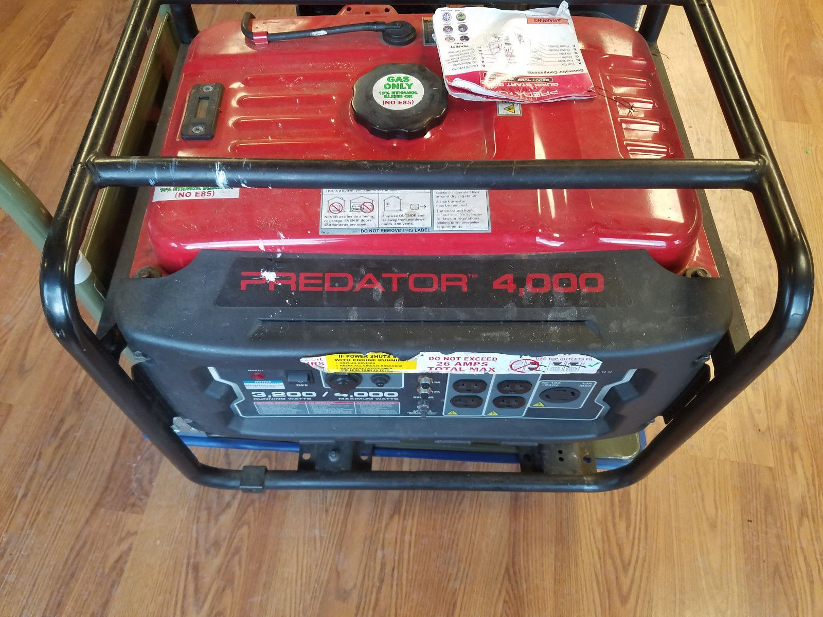 Gas Generator Portable Emergency Predator 4000 Watts Peak 6 5 HP