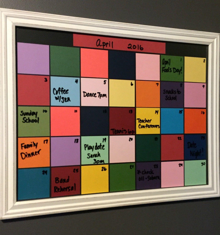 Framed Dry Erase Monthly Calendar, Family Organizer, Dorm Room, Reusable