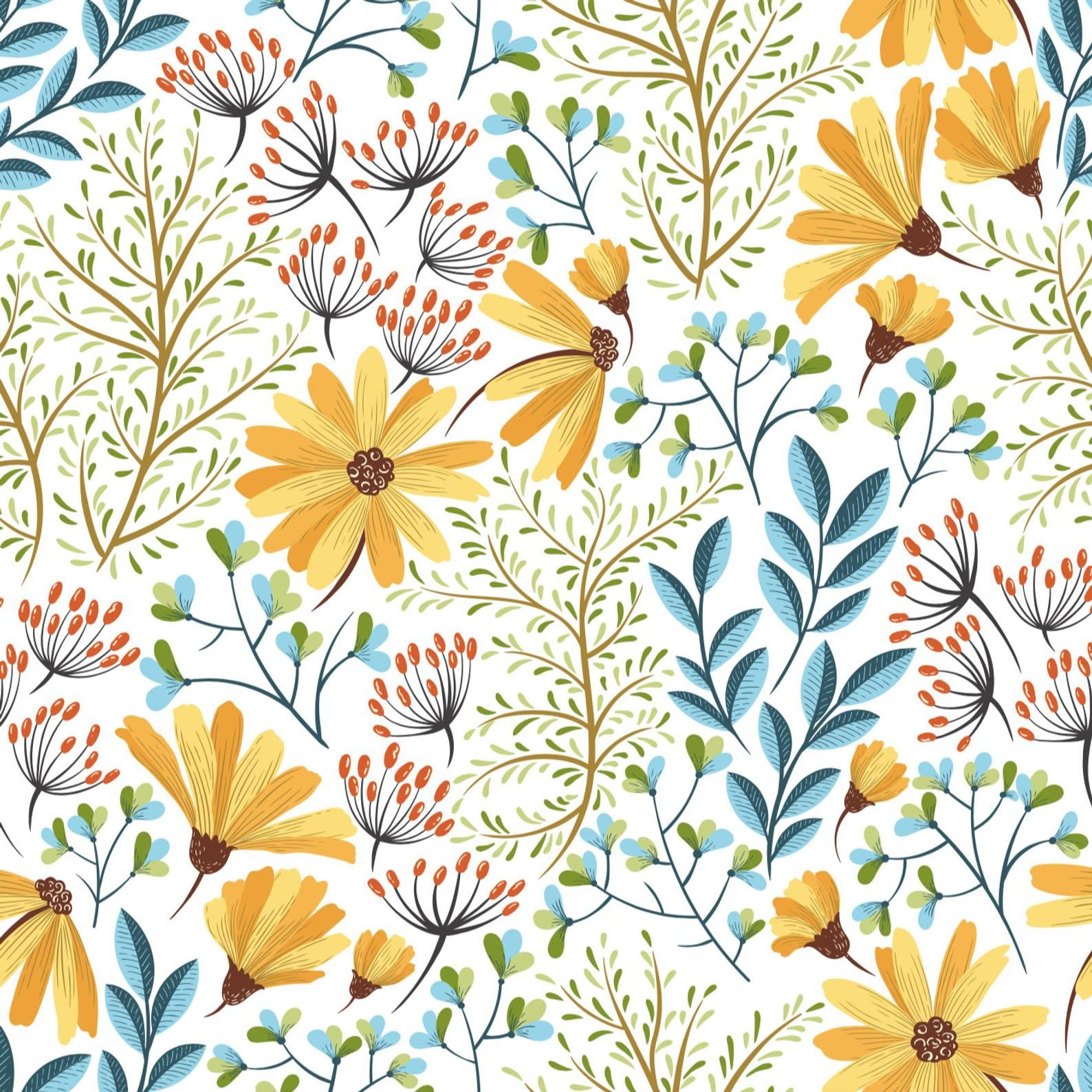Colorful Flowers Wallpaper Self Adhesive Wallpaper Wall Etsy Floral Wallpaper Flower Wallpaper Wall Wallpaper