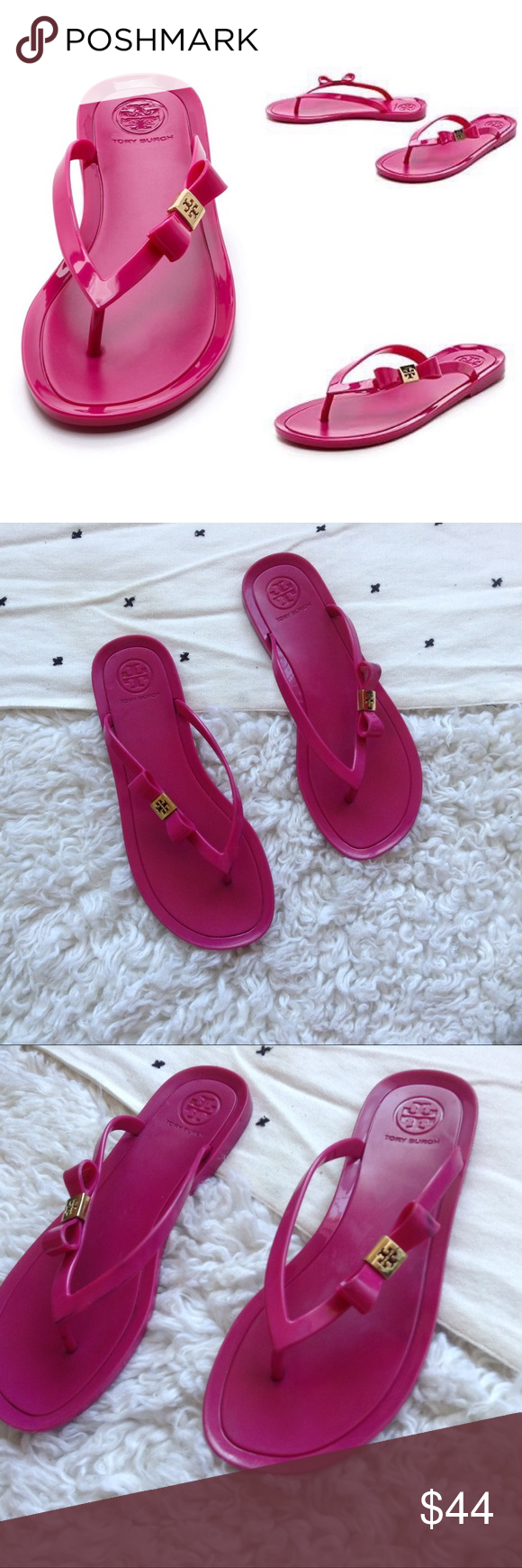4ff22c257d1624 Tory Burch Michaela Pink Bow Jelly Flip Flops - jelly style sandals - logo  bow -