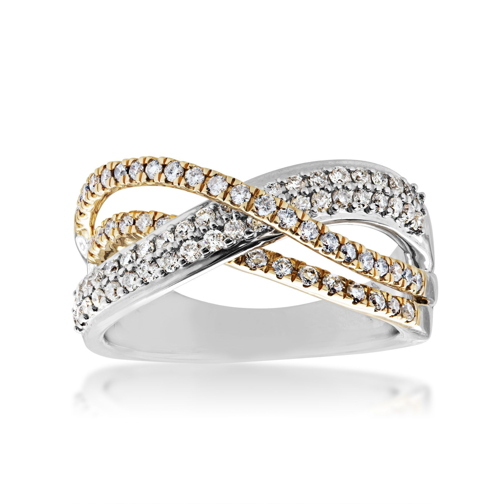 3/4 ct. tw. Curved Crisscross Diamond Anniversary Band in