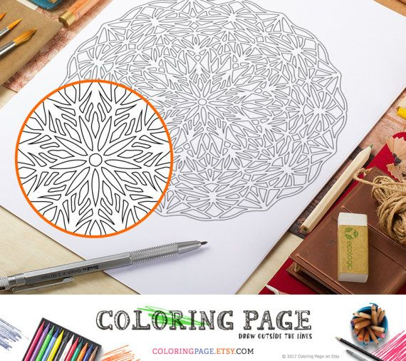 Instant Download Printable Coloring Page Mandala Adult