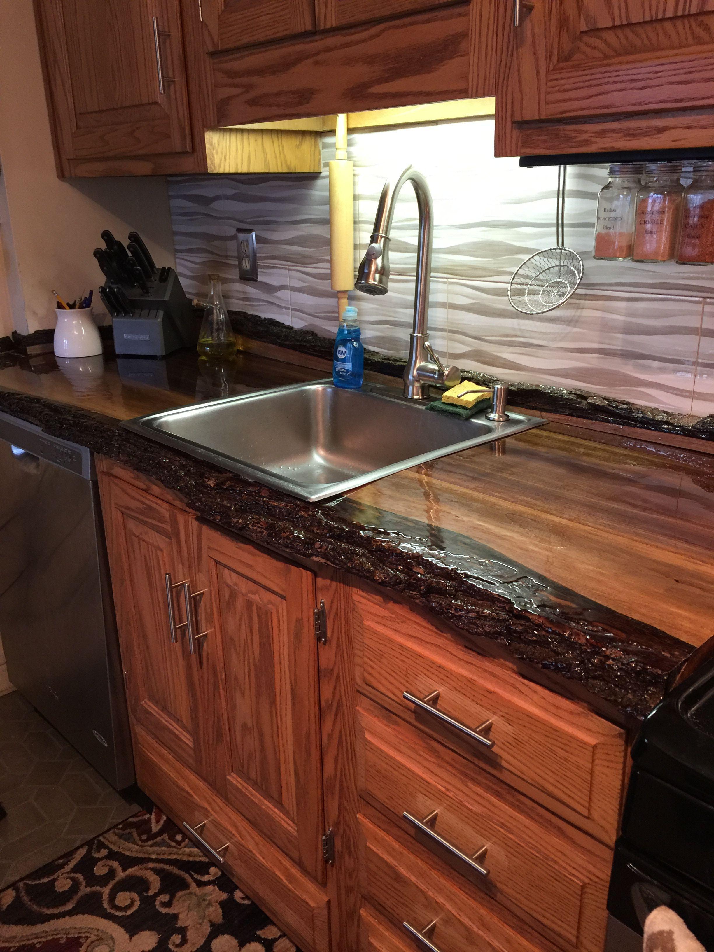 Live Edge Wood Black Walnut Kitchen Countertop Walnut Kitchen Lake House Kitchen Wooden Countertops Kitchen