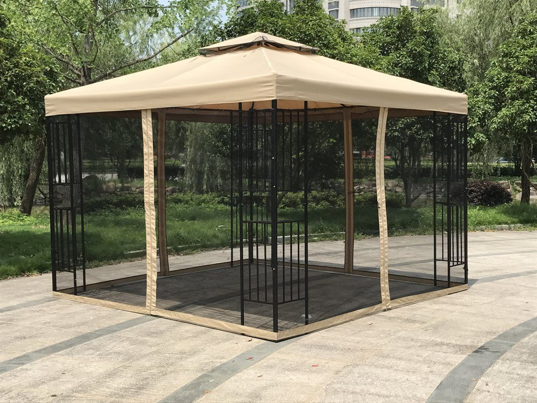 Double Roof 10 Ft W X 10 Ft D Steel Patio Gazebo In 2020 Patio Gazebo Gazebo Rustic Pergola