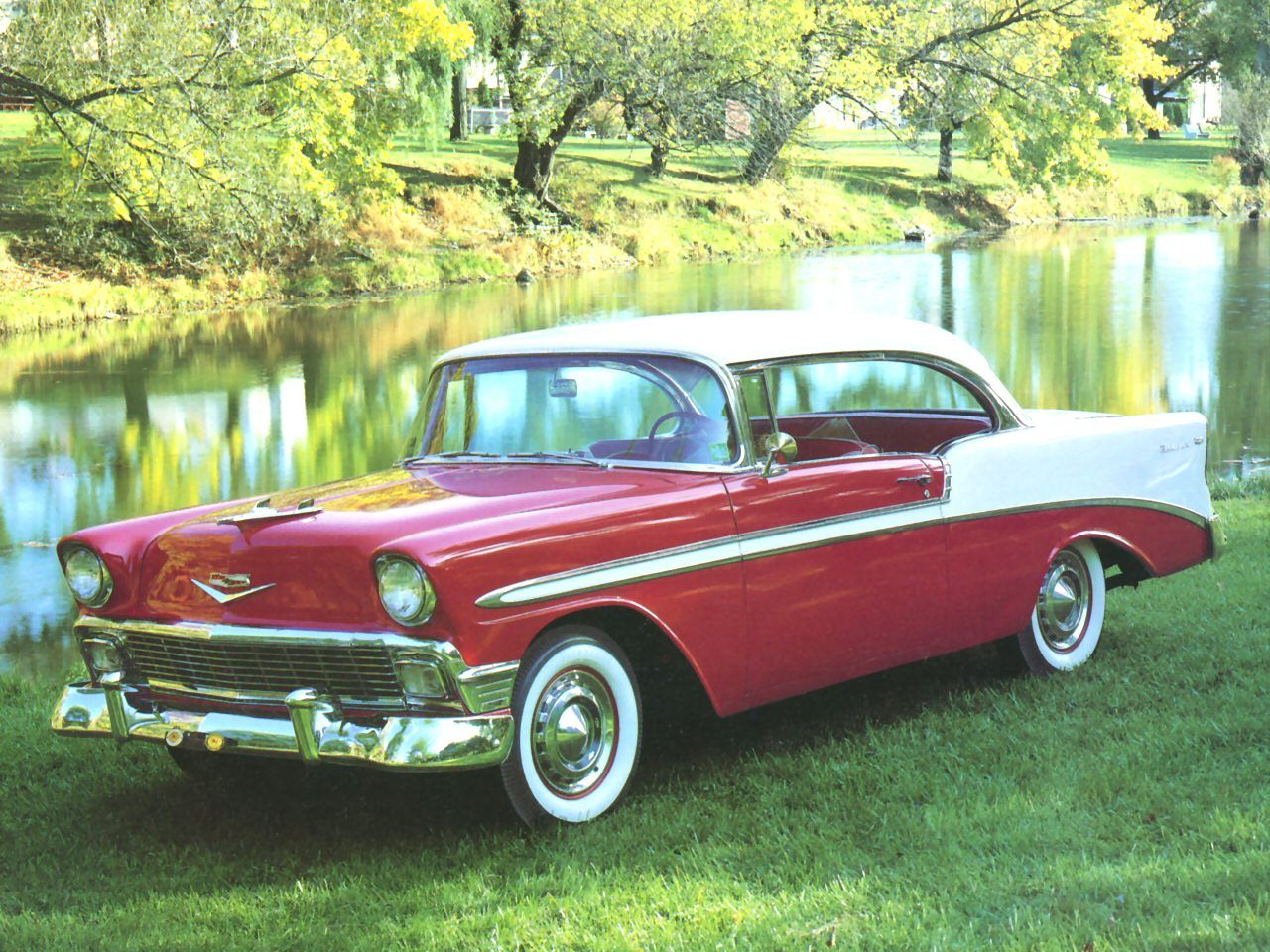 Cars 1956 chevrolet bel air sport coupe red white fvl