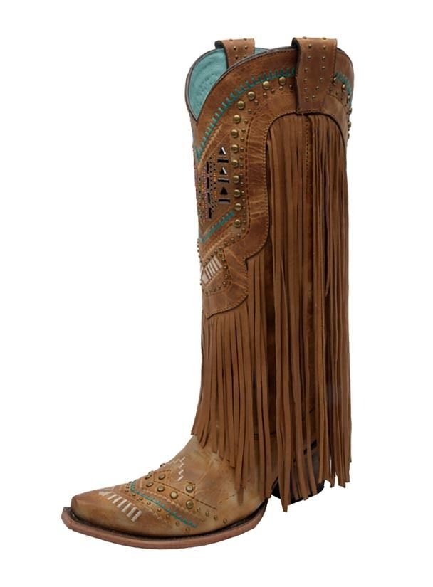 Corral Ladies Multicolor Crystal Fringe Boots