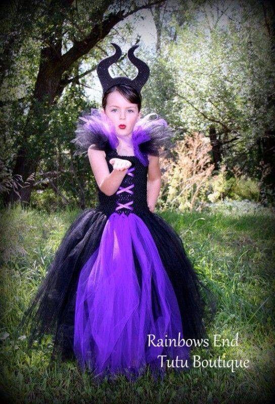 3a3e9713c Vestido de tul de maléfica para niña | textil | Vestido de halloween ...