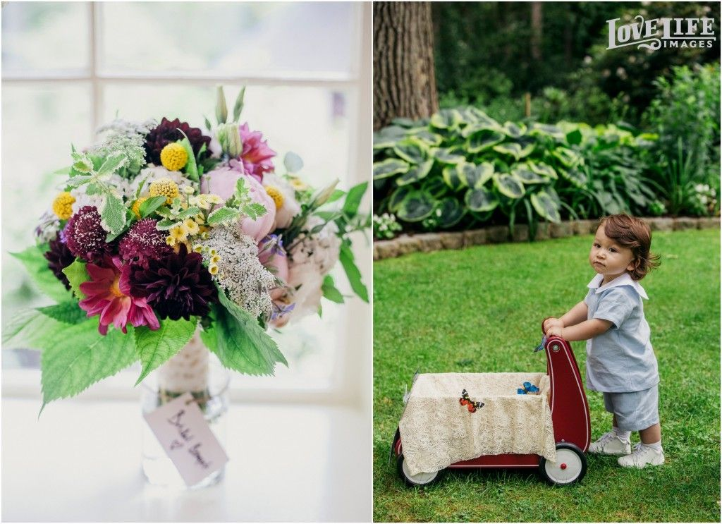 How sweet is the bride and groom's son with his little wagon! Gramercy Mansion Wedding, photo by Love Life Images