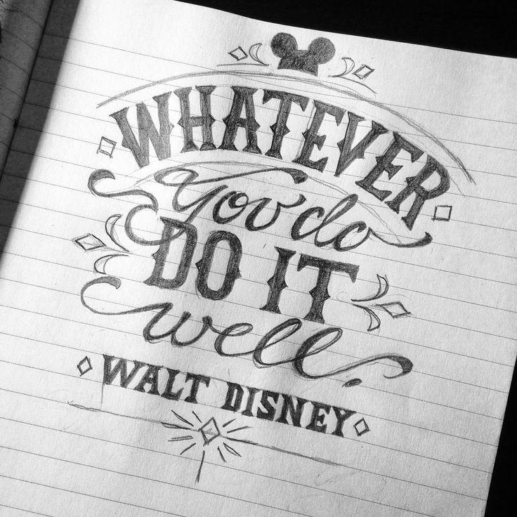 "Jon Benson on Instagram: ""This is such a challenging bit of advice for me. @elizabens8 #artoberfest #inktober #lettering #waltdisney #disney #handlettering #handtype…"""