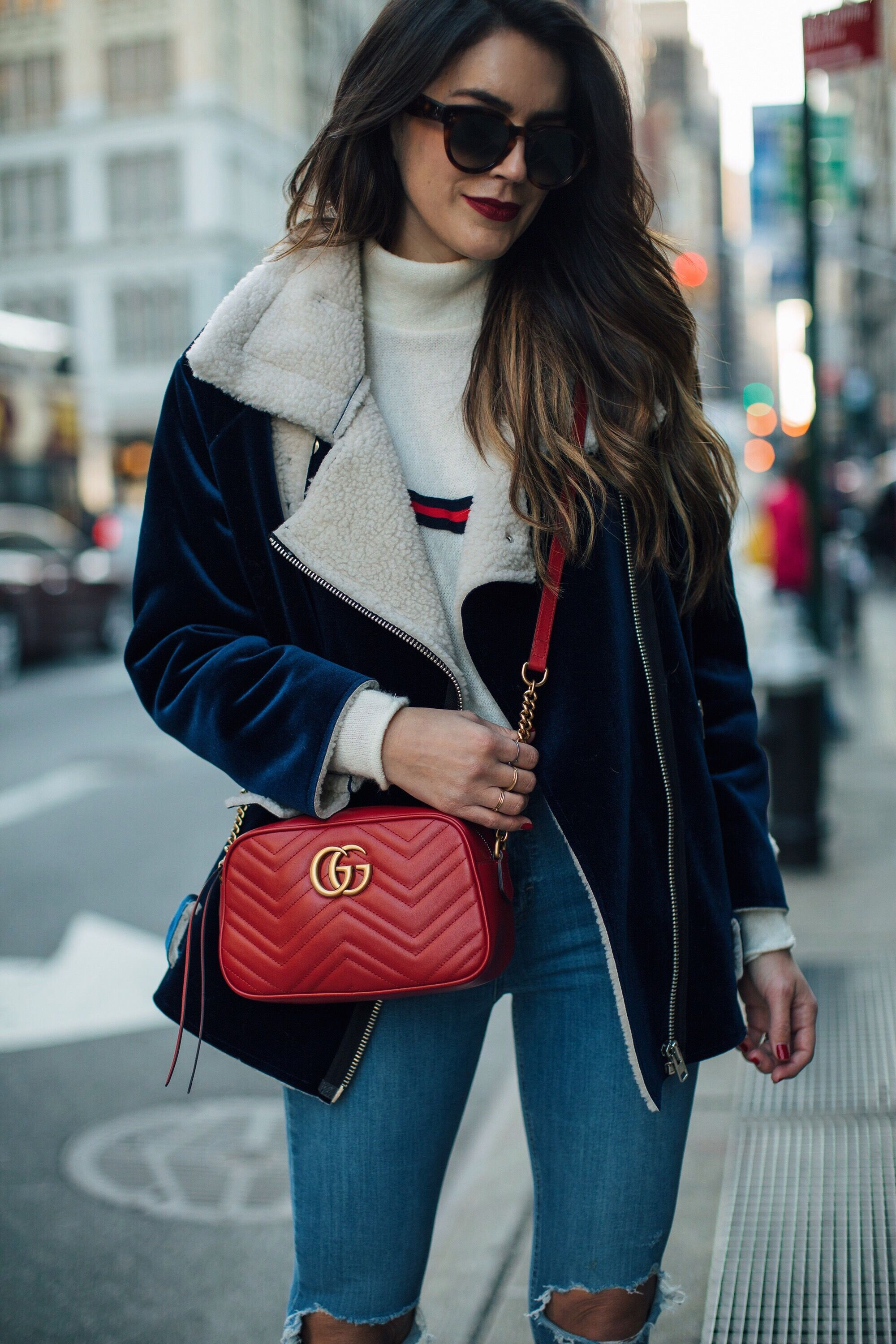 578717acee88 ... red hued Gucci shoulder bag. Thrifts and Threads.  streetstyle   streetfashion  blogger  NYFW  fashionweek  fashion  style  street