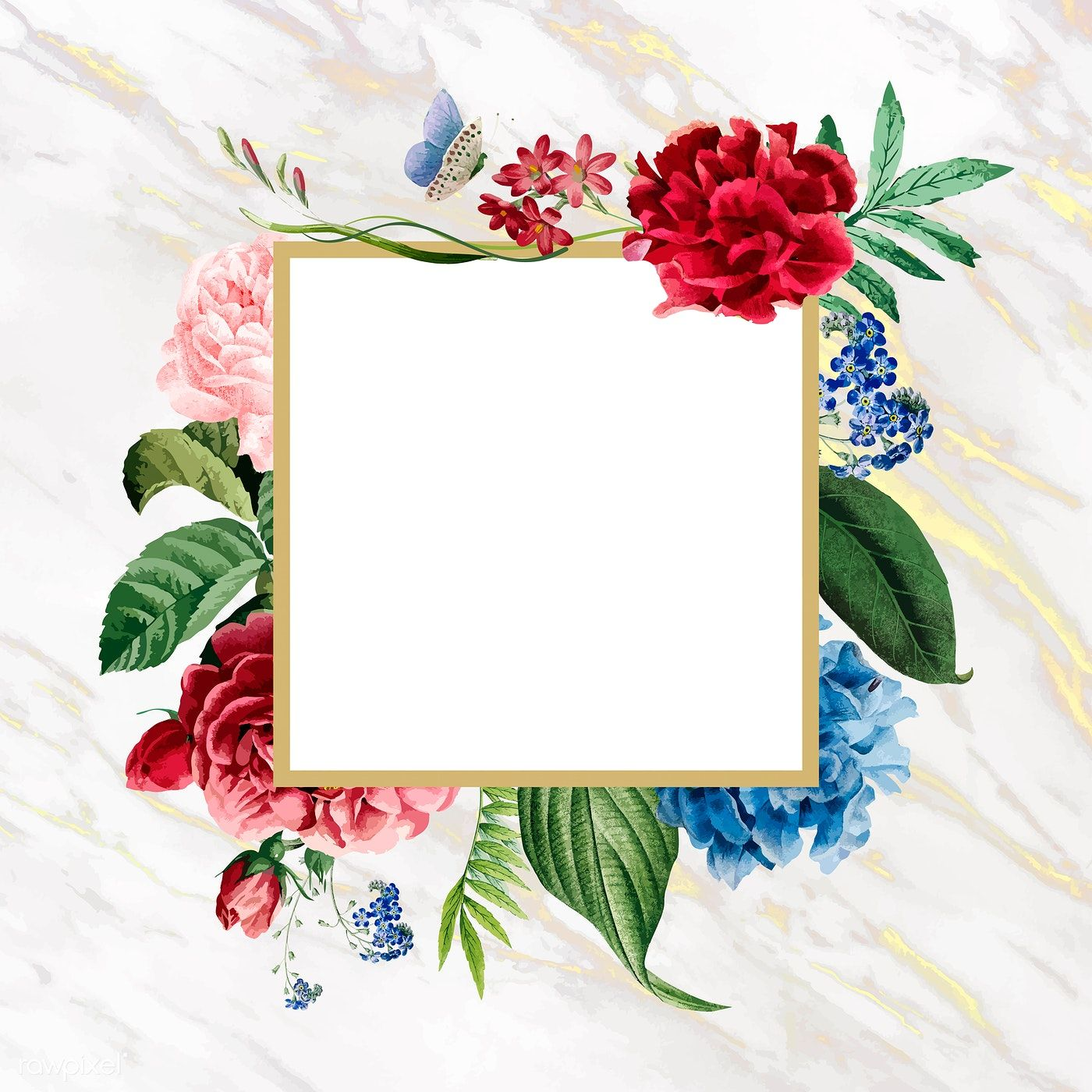 Download Premium Vector Of Floral Square Frame On A Marble Background Marble Background Flower Background Wallpaper Floral Squares
