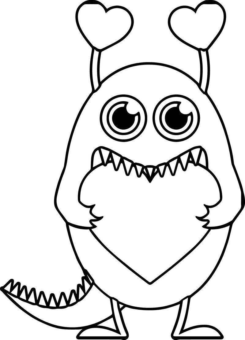 Monster Valentine Heart Free Coloring Page Monster Coloring Pages Valentine Coloring Pages Free Coloring Pages