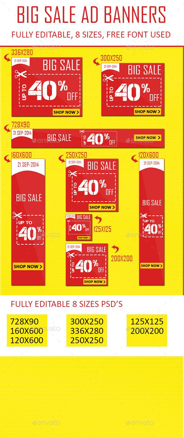 Flat Color Sale Web Banner Ads  For Sale Ad Template