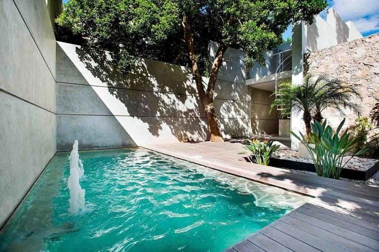 Jardin intérieur dans une maison moderne au Mexique
