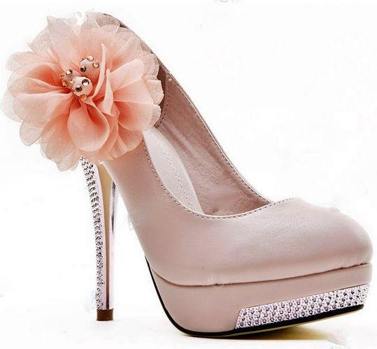 Pink Heels With Flower  Tsaa Heel