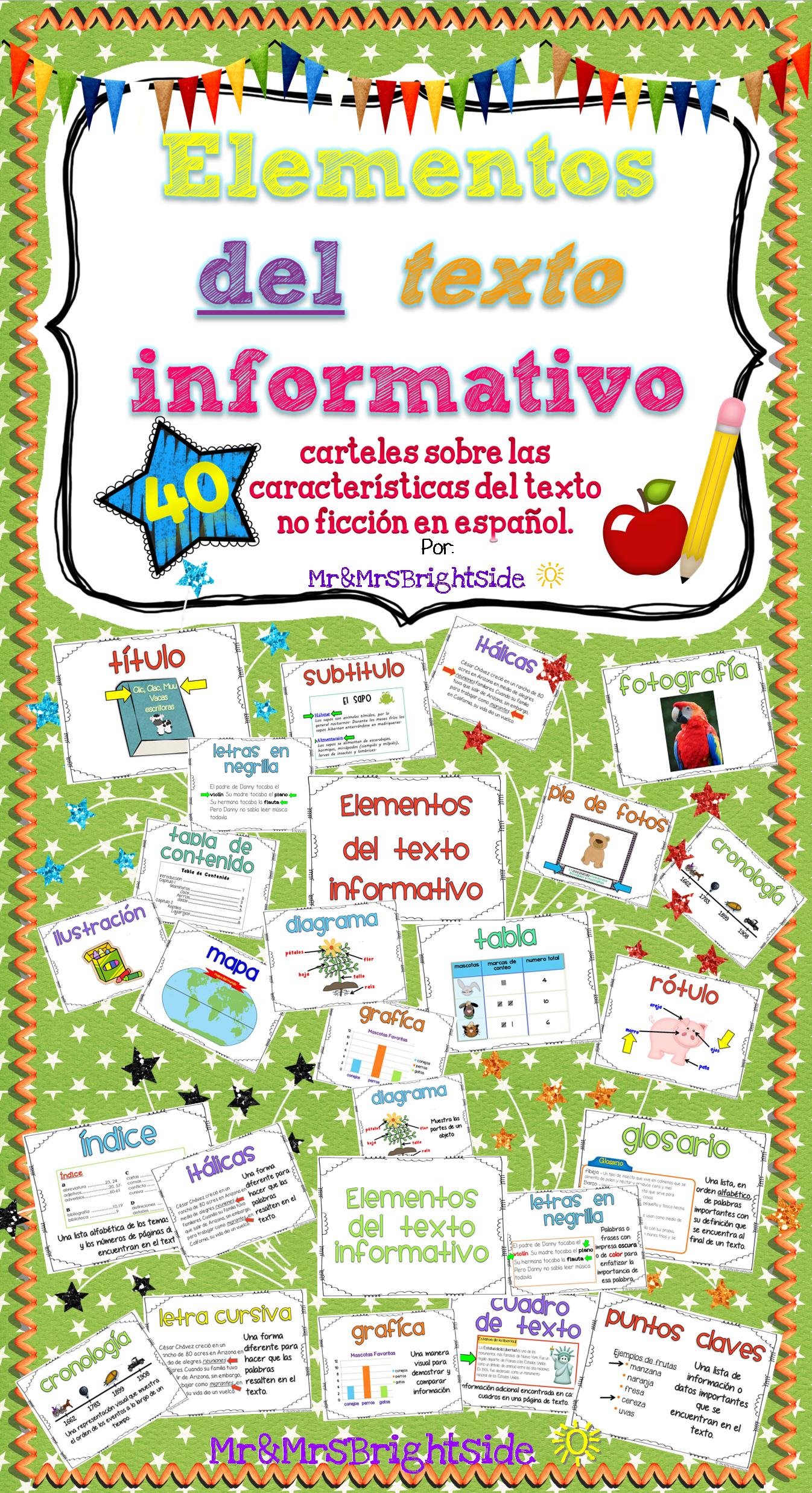 Text Features In Spanish Elementos Del Texto Informativo