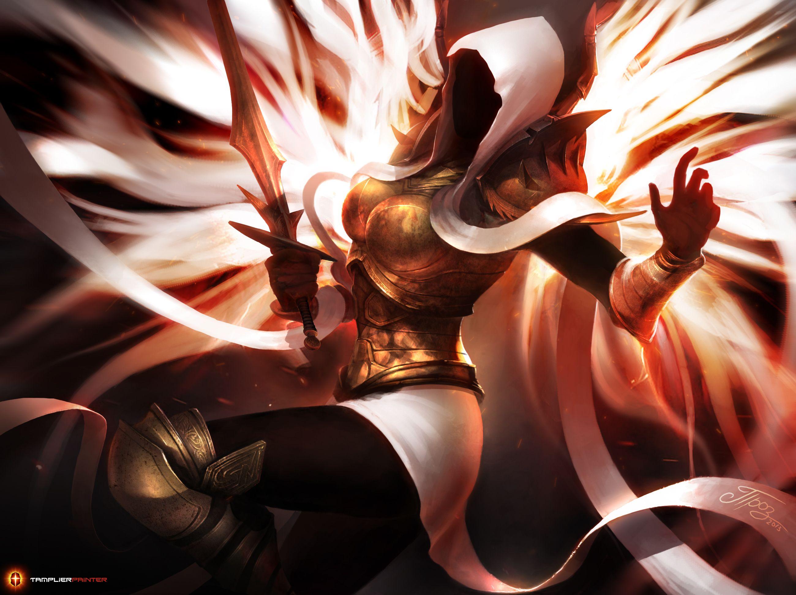 E621 2013 Angel Armor Auriel Diablo 3 Female Hi Res Melee Weapon Sword Tamplierpainter Wings