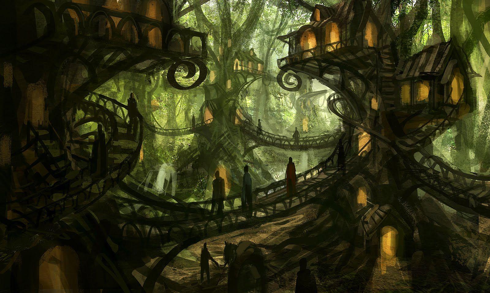 Fukurokuju Village Fantasy Tree Fantasy Concept Art Fantasy Village