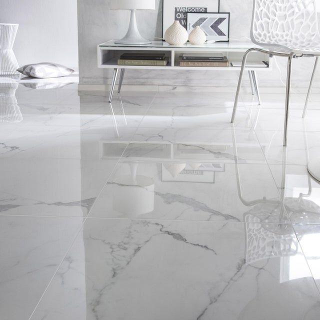 Carrelage Sol Et Mur Blanc Effet Marbre Rimini L 60 X L 60 Cm Lozas De Piso Piso Interiores Piso Marmol