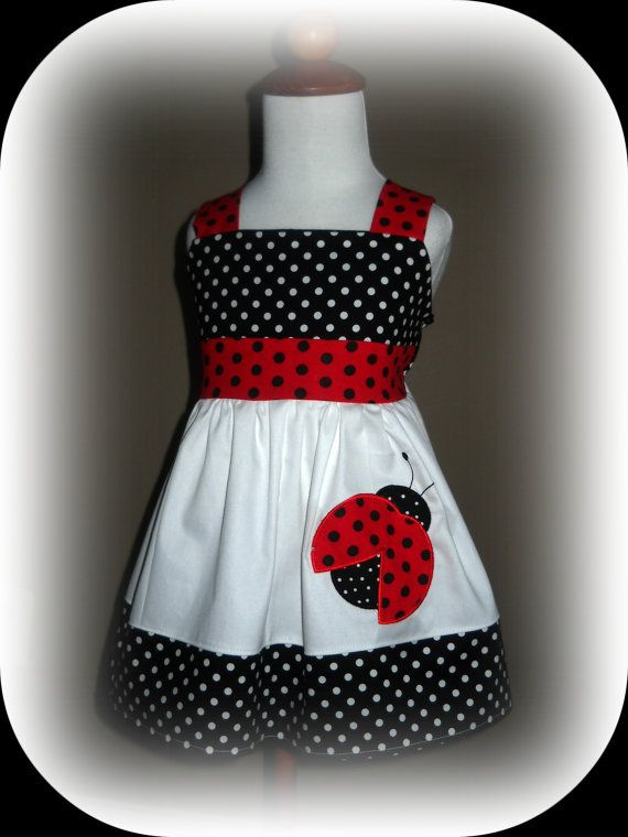 Ladybug Halter Birthday Dress via Etsy - see site for more etsy bug themed  dresses f84a87f06