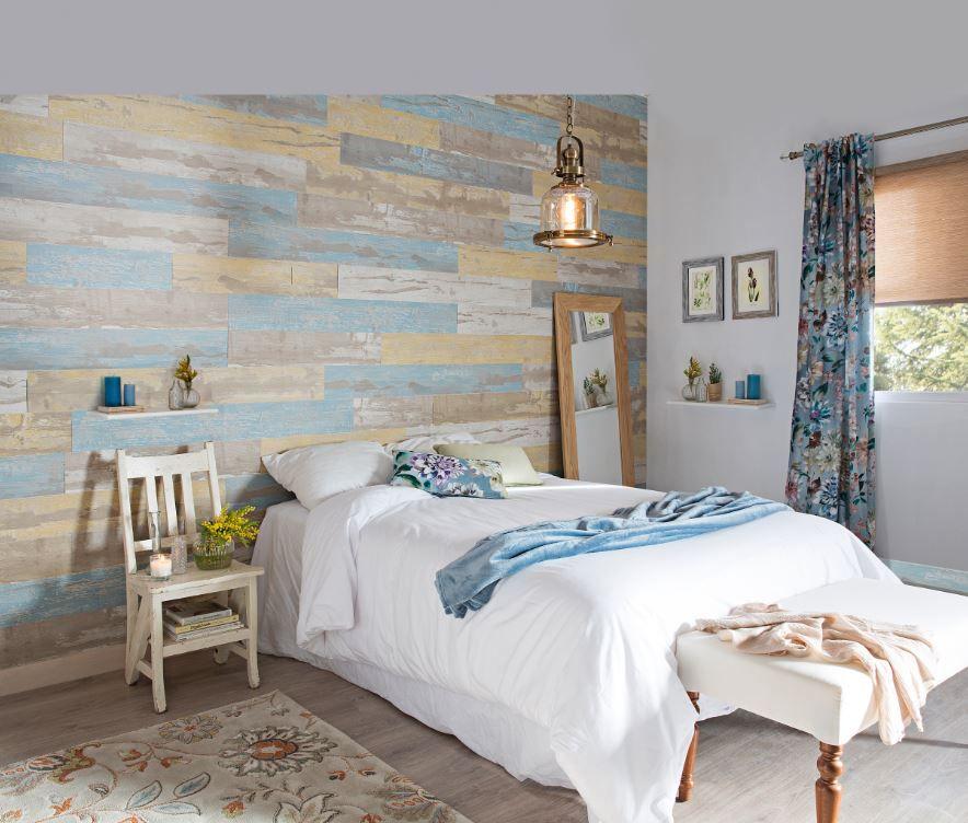 Decora la pared del cabecero con un revestimiento de pvc Revestimiento para paredes dormitorios