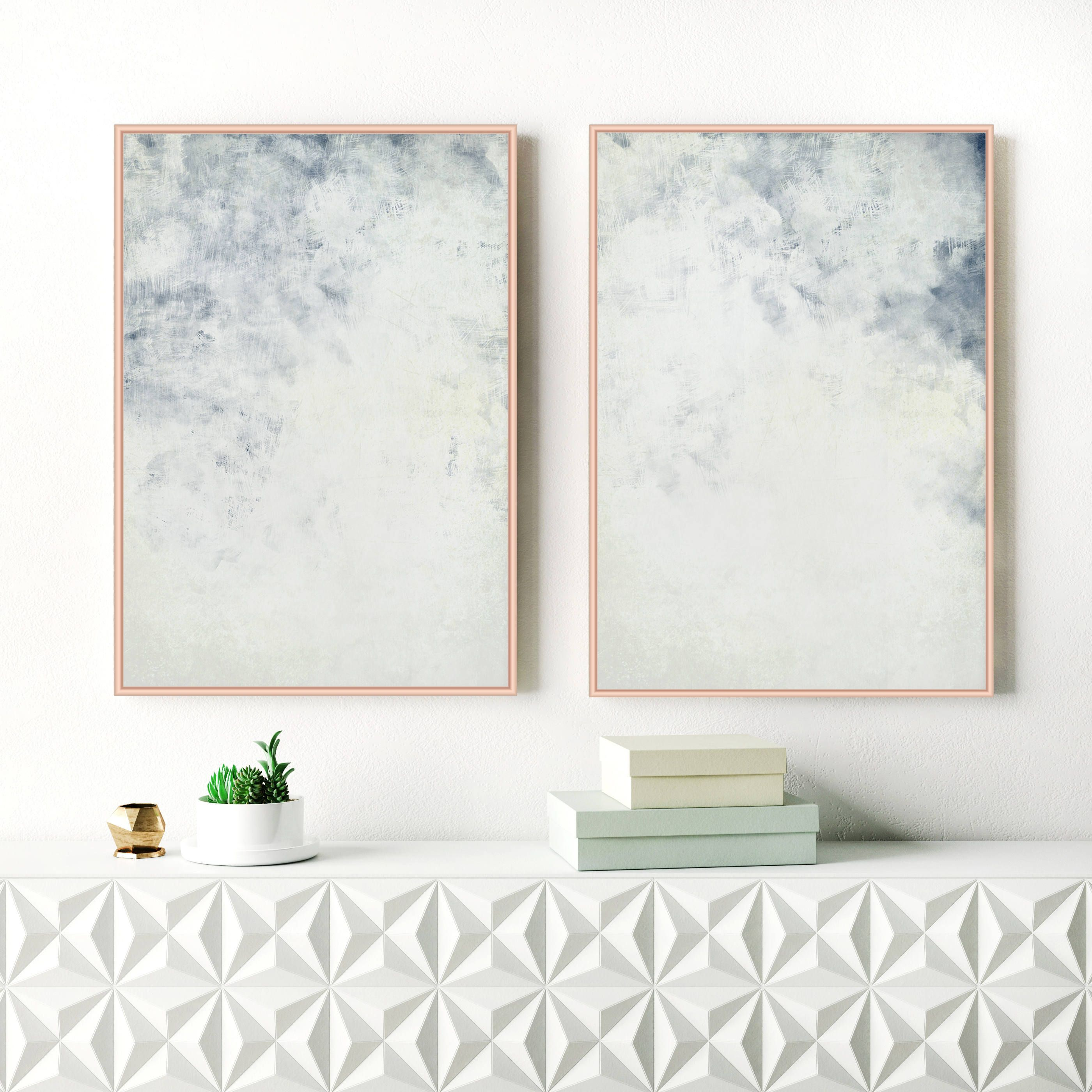 Blue abstract art set of two pale blue art prints two large blue