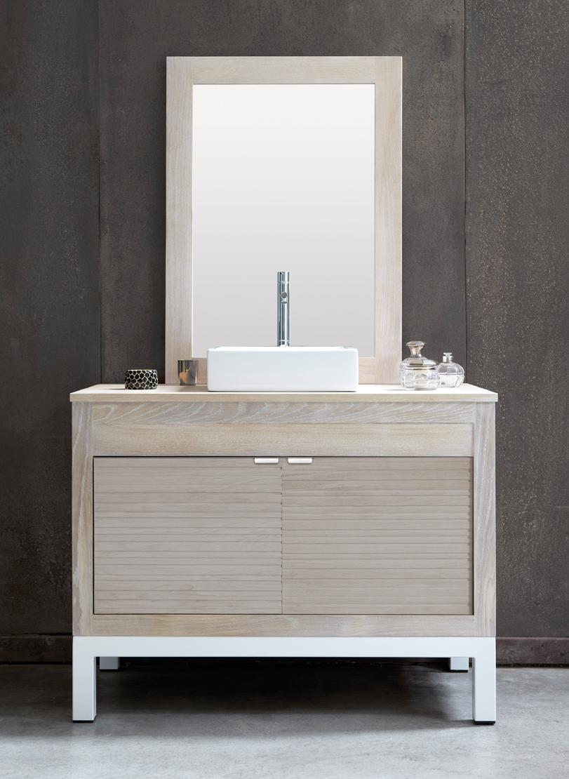 Coastal Bath Driftwood Gray Line Art Free Bathroom Vanity In Chene Ceruse Oak With Stainless Steel Base Cerused Oak Cabinets Teak Vanity Oak Bathroom Vanity