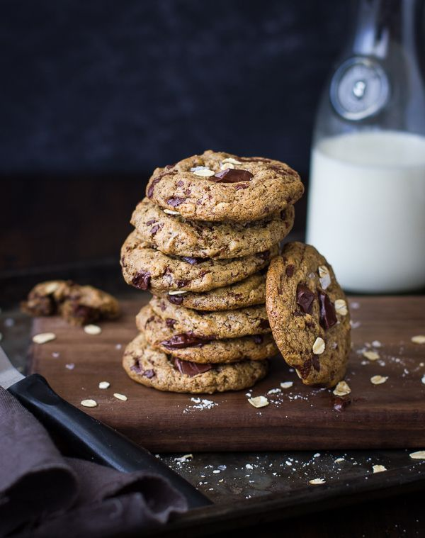 Oatmeal Chocolate Chip Almond Butter Cookies With Maple Buckwheat