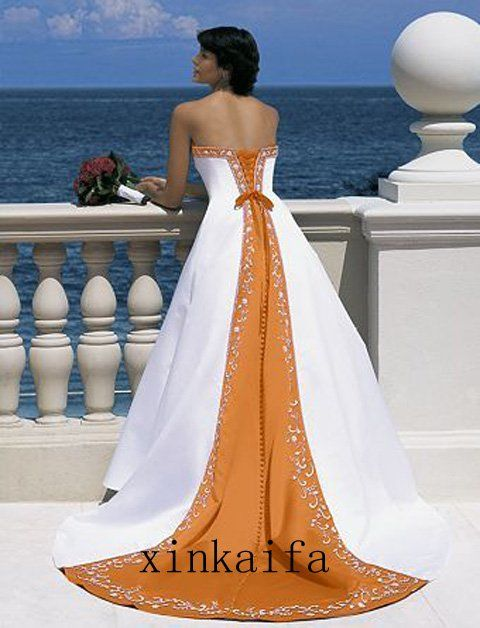 Find More Wedding Dresses Information About Custom White Orange Satin Silver Embroidery Bridal Prom Gown