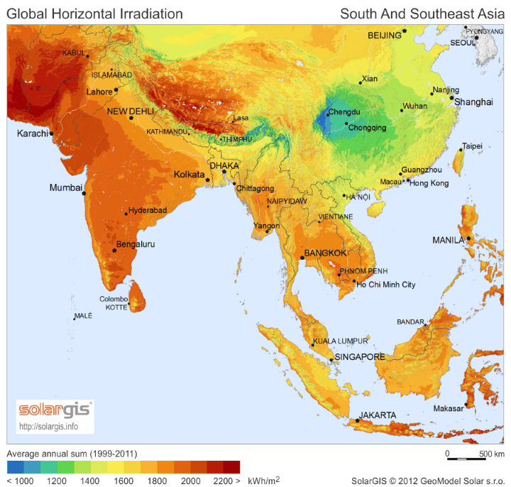 Geography Map Of Asia.Solar Energy Potential Map Of Asia Earth Building Pinterest