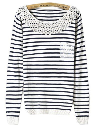 $26.13 nice Black White Striped Long Sleeve Contrast Hollow ...